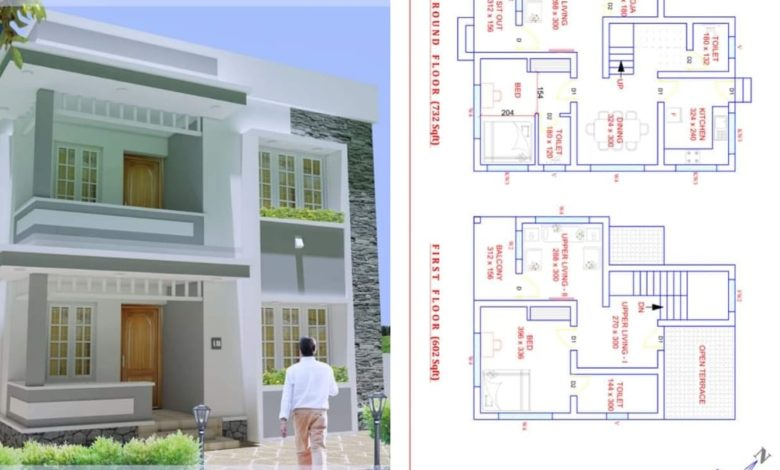 1338 Square Feet 2 Bedroom Contemporary Style Double Floor House and Plan