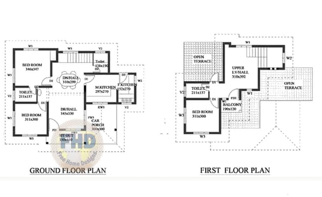 1359 Square Feet 3 Bedroom Kerala Style Two Floor House And Plan Home Pictures