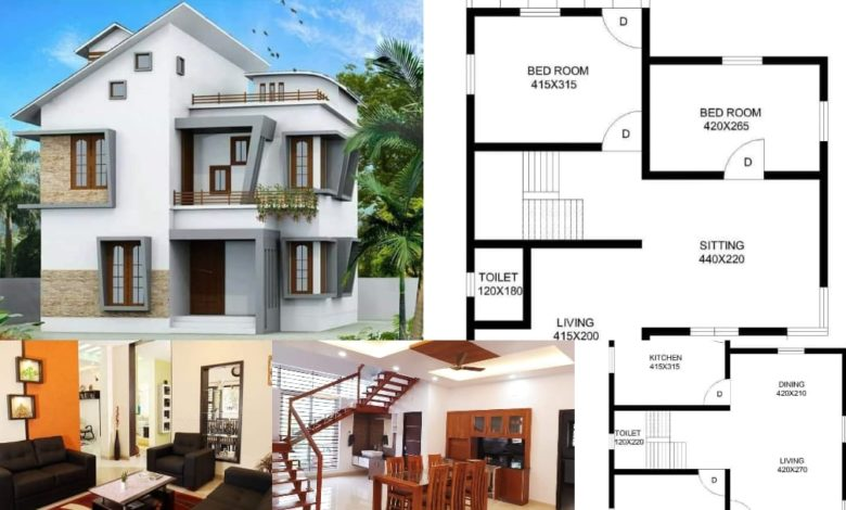 1690 Square Feet 3 BHK Contemporary Style Modern House and Plan