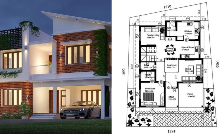 2508 Square Feet 4 Bedroom Fusion Style Double Floor Modern House and Plan