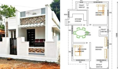 Photo of 830 Square Feet 2 Bedroom Single Floor Low Cost House and Plan