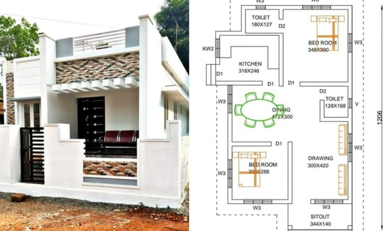 830 Square Feet 2 Bedroom Single Floor Low Cost House and Plan