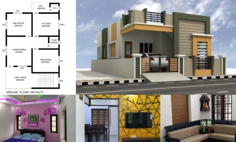 955 Square Feet 2 BHK Contemporary Style House and Plan