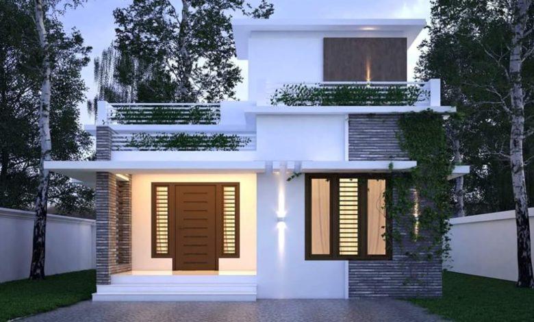 970 Square Feet 2 Bedroom Single Floor Modern House and Plan