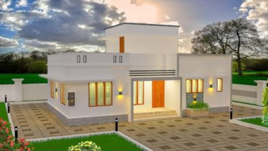Photo of 986 Square Feet 2 Bedroom Single Floor Modern Flat Roof House and Plan
