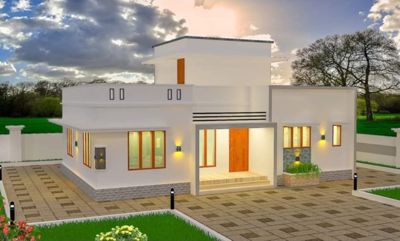 986 Square Feet 2 Bedroom Single Floor Modern Flat Roof House and Plan