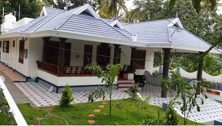 1290 Square Feet 3 Bedroom Traditional Style Single Floor House and Plan