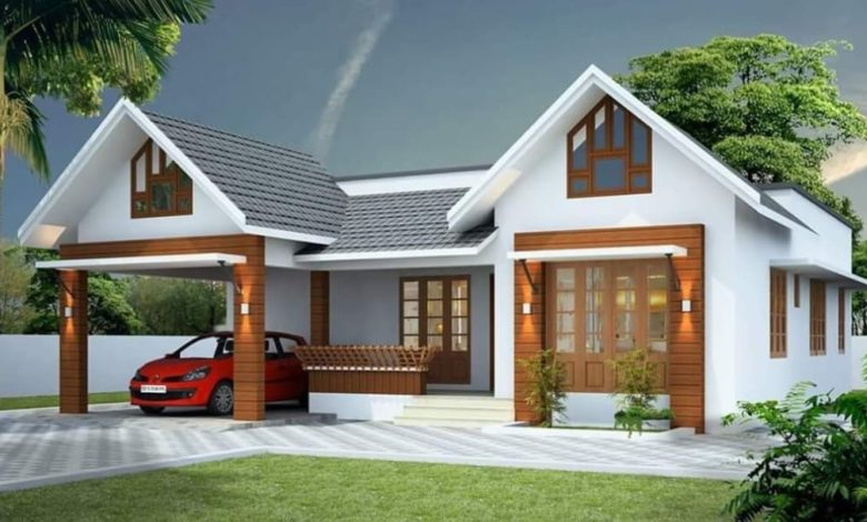 1350 Square Feet 3 Bedroom Single Floor Kerala Style House and Plan