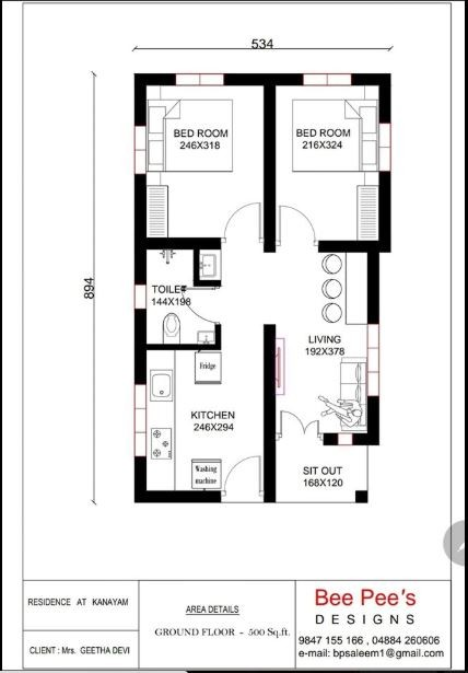 500 Square Feet 2 Bedroom Single Floor Modern Low Budget House And Plan Home Pictures