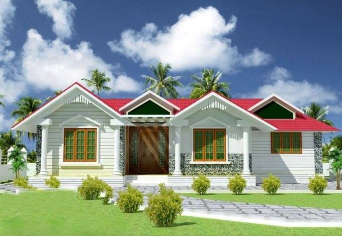 1070 Square Feet 3 Bedroom Traditional Style Single Floor House and Plan