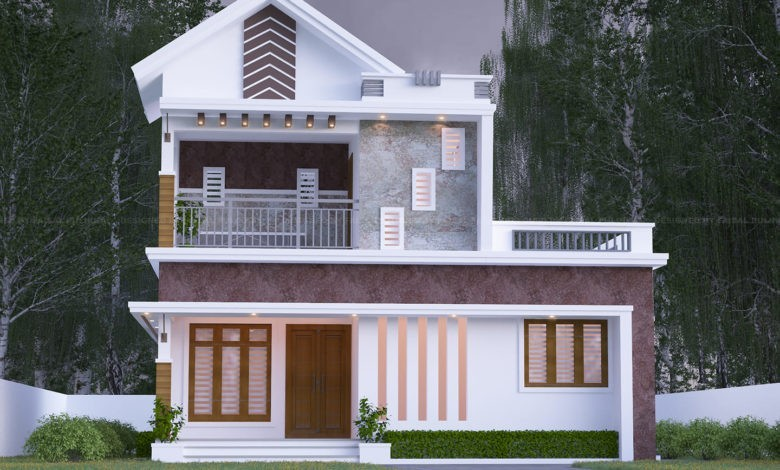 1200 Square Feet 2 Bedroom Modern Two Floor House Design