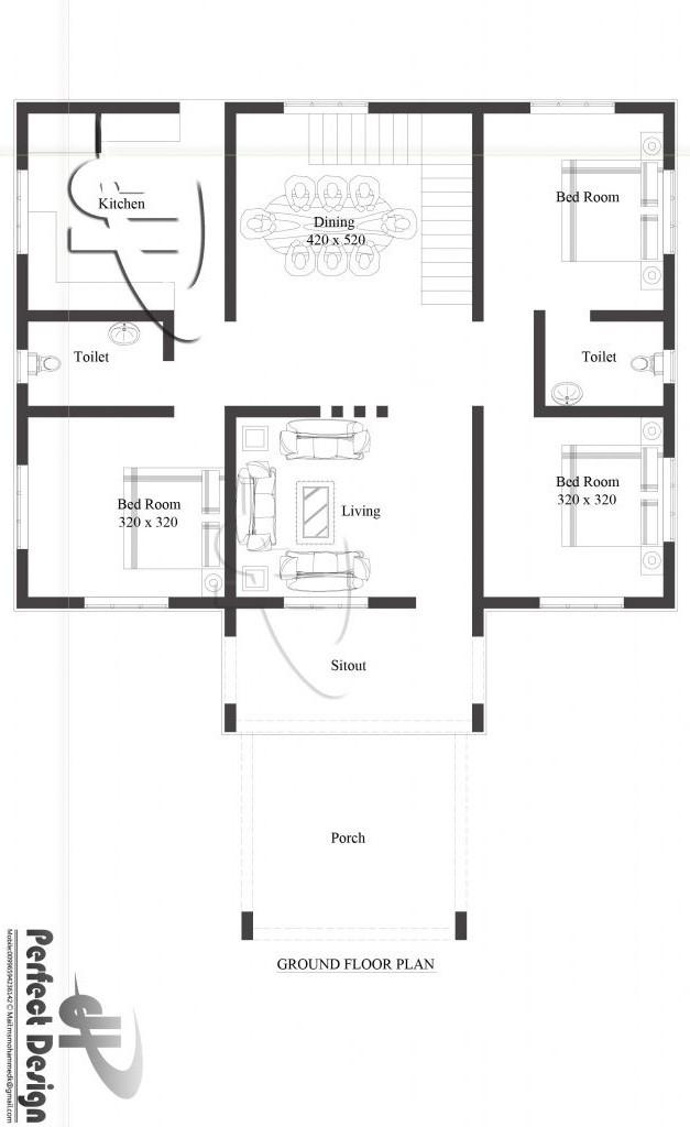 1350 square feet 3 bedroom single floor low budget