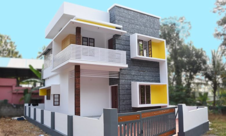 1400 Square Feet 3 Bedroom Modern Flat Roof Two Floor House at 3 Cent Land