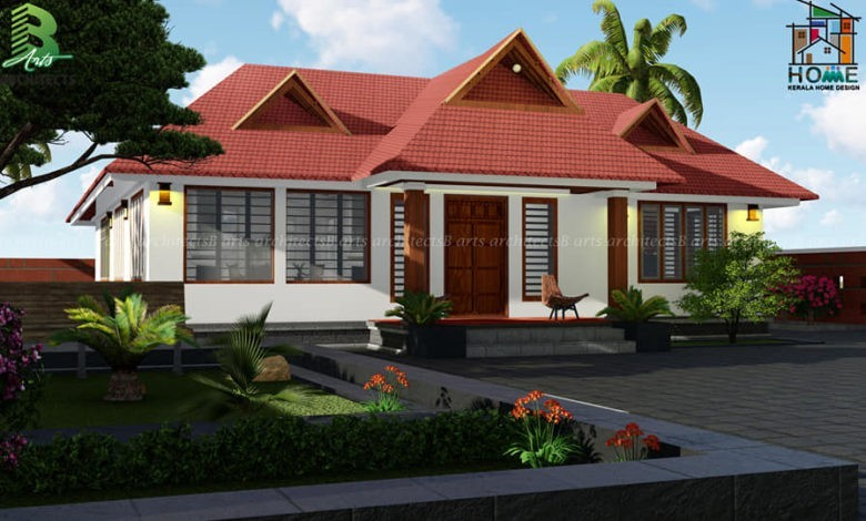 1542 Square Feet 3 Bedroom Traditional Style Inner Courtyard House Design