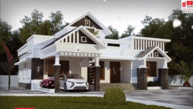 Photo of 1933 Square Feet 3 Bedroom Single Floor Colonial Style Modern House and Plan