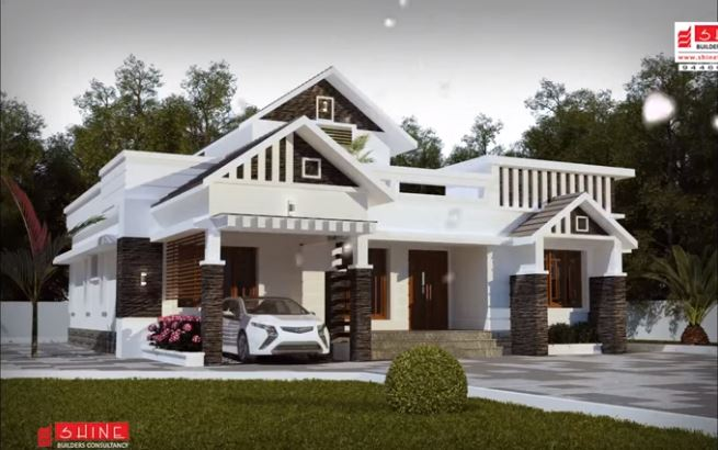 1933 Square Feet 3 Bedroom Single Floor Colonial Style Modern House and Plan