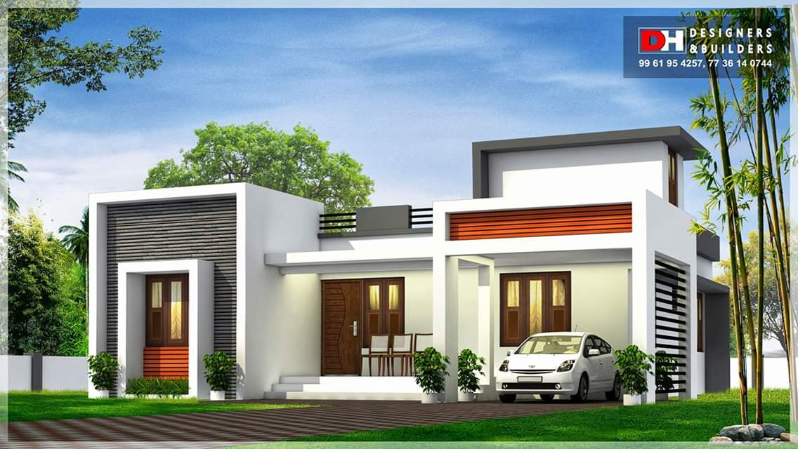950 Square Feet 2 Bedroom Flat Roof Modern Contemporary Style House Design