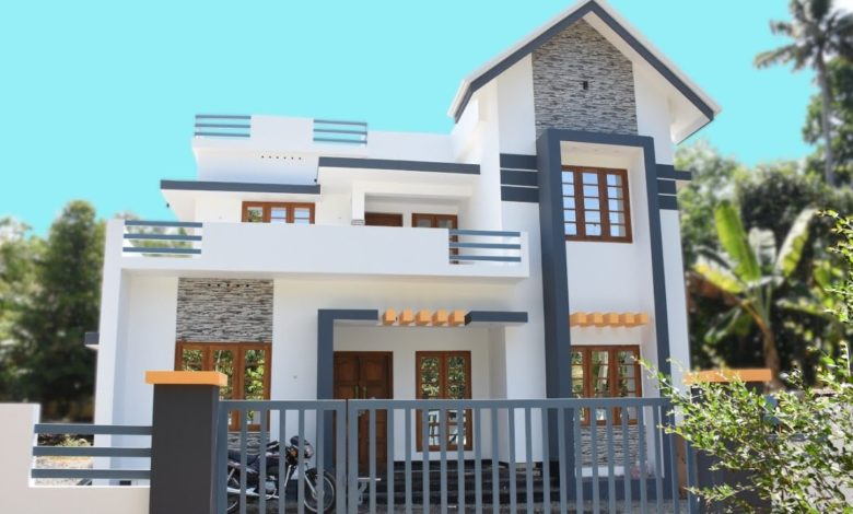 1600 Square Feet 3 Bedroom Contemporary Style Two Floor House at 6 Cent Land