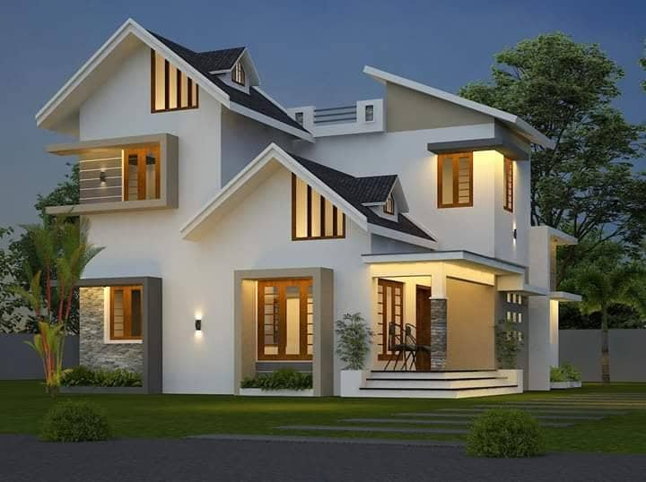 1639 Square Feet 4 Bedroom Colonial Style Two Floor House and Plan
