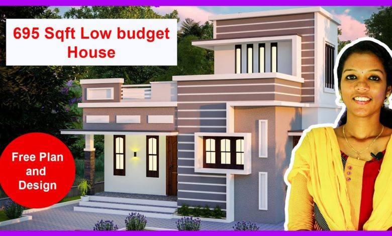 695 Sq Ft 2 BHK Flat Roof Two Floor Home Elevation and Plan