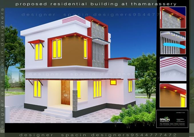 1100 Square Feet 4 Bedroom Simple Style Two Storey House and Plan