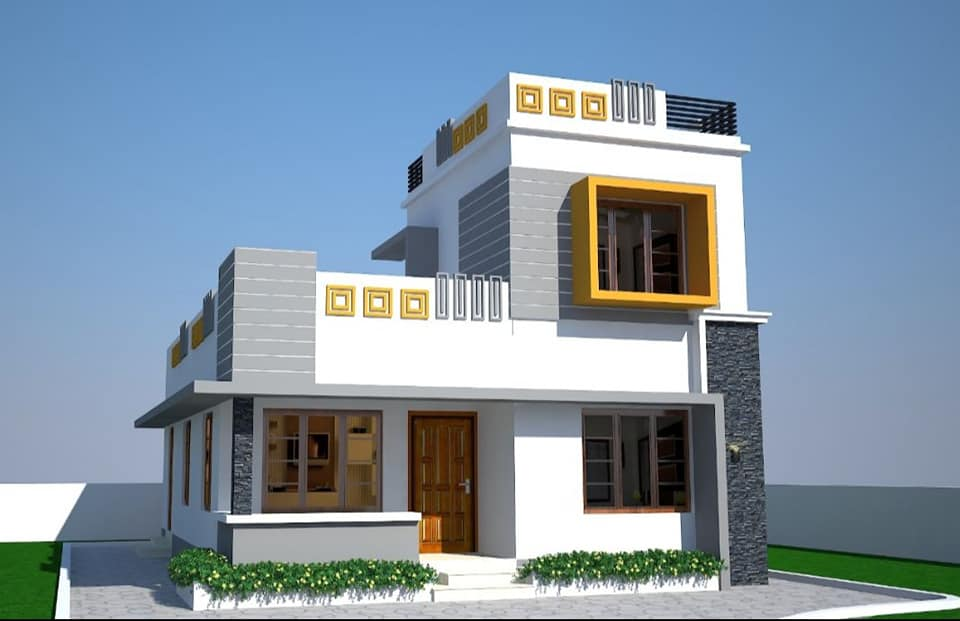 1102 Sq Ft 3 Bedroom Two Floor Modern House and Plan, Cost 17.50 Lacks