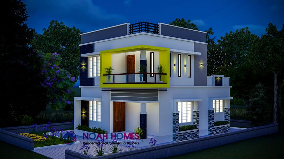 1195 Sq Ft 3BHK Double Floor Modern Flat Roof House and Plan, Cost 18 Lacks