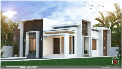 Photo of 1200 Sq Ft 3BHK Flat Roof Modern Single Floor House and Plan