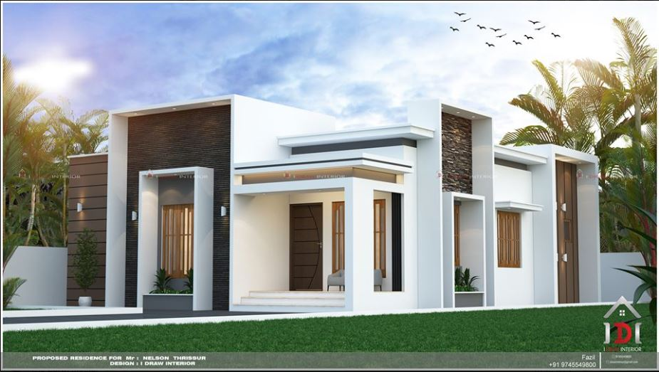 1200 Sq Ft 3BHK Flat Roof Modern Single Floor House and Plan
