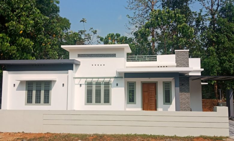 1200 Square Feet 3BHK Single Floor Modern Flat Roof House at 6.5 Cent Land
