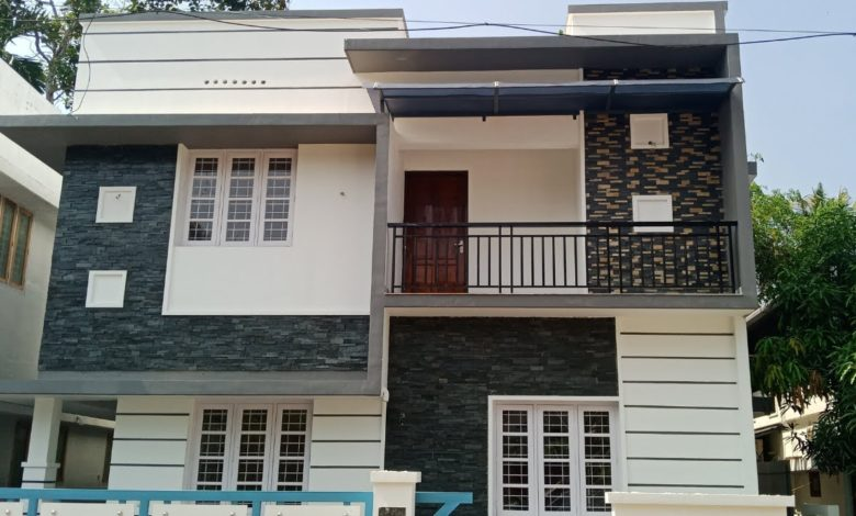 1306 Sq Ft 3BHK Flat Roof Modern Two Floor House at 3 Cent Land