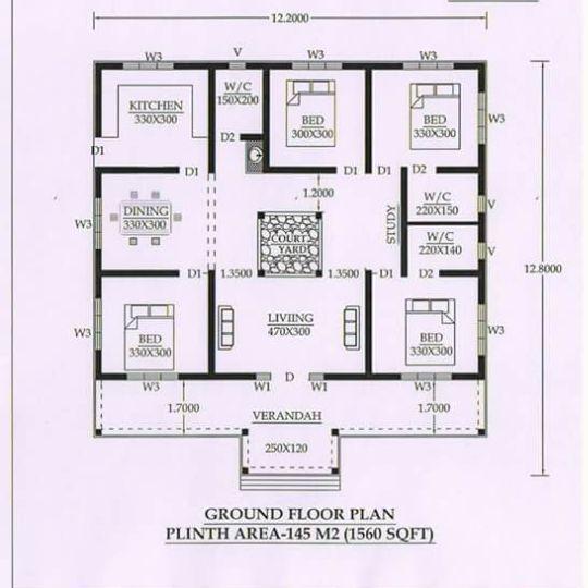 1560 Sq Ft 4BHK Traditional Nalukettu Style Single Floor House and Plan 2 - Download Nalukettu 4 Bedroom Single Floor House Plans Kerala Style Pictures