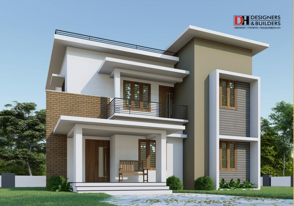 1700 Square Feet 4BHK Flat Roof Modern Two Floor Home