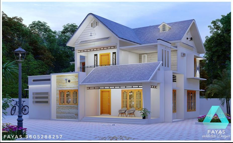 1850 Sq Ft 4BHK Colonial Style Two Floor Beautiful House and Plan
