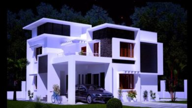 Photo of 1915 Square Feet 3BHK Contemporary Style Flat Roof Modern House and Plan