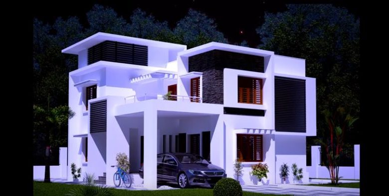 1915 Square Feet 3BHK Contemporary Style Flat Roof Modern House and Plan