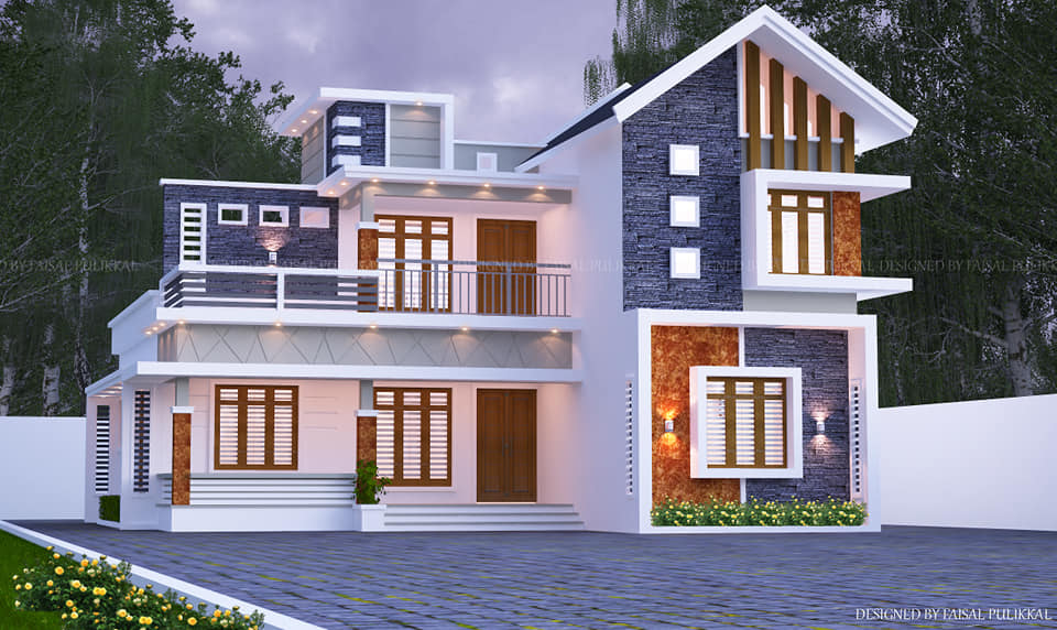 2170 Sq Ft 4BHK Contemporary Style Two Floor Modern Beautiful House