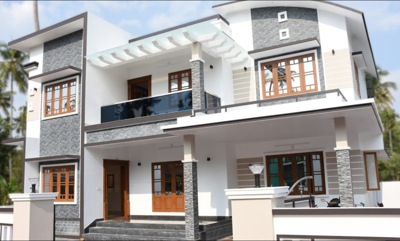 2400 Sq Ft 4 BHK Contemporary Style Double Floor House at 7.5 Cent Plot
