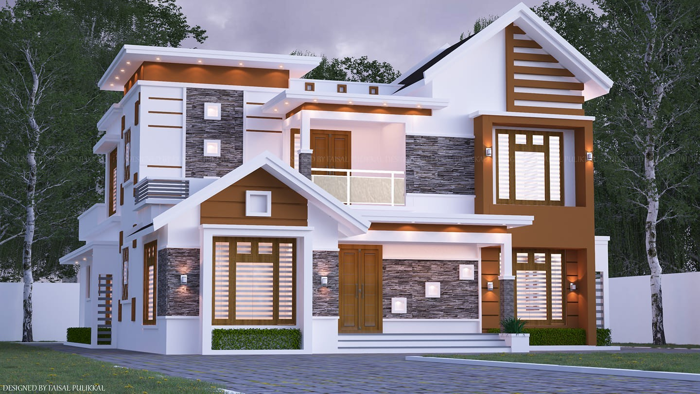 2690 Square Feet 4 Bedroom Contemporary Style Two Floor House
