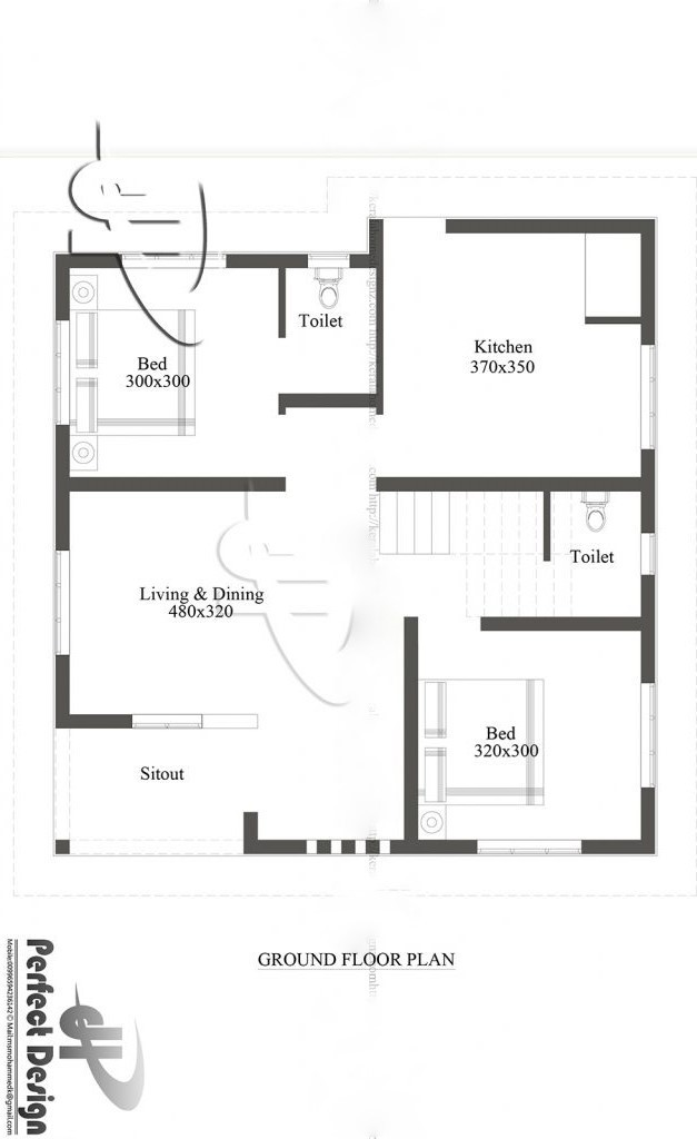 750 Square Feet 2 Bedroom Beautiful Single Door House and Plan