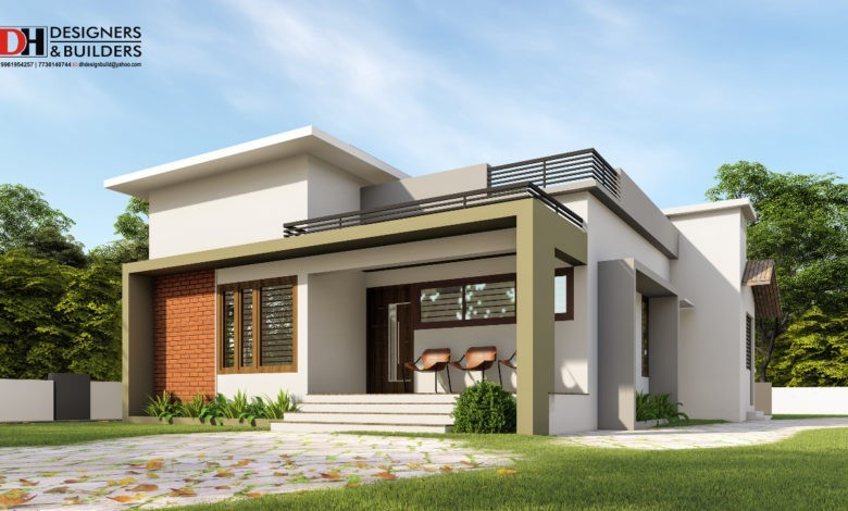 930 Sq Ft 2BHK Modern Flat Roof Elegant House Design