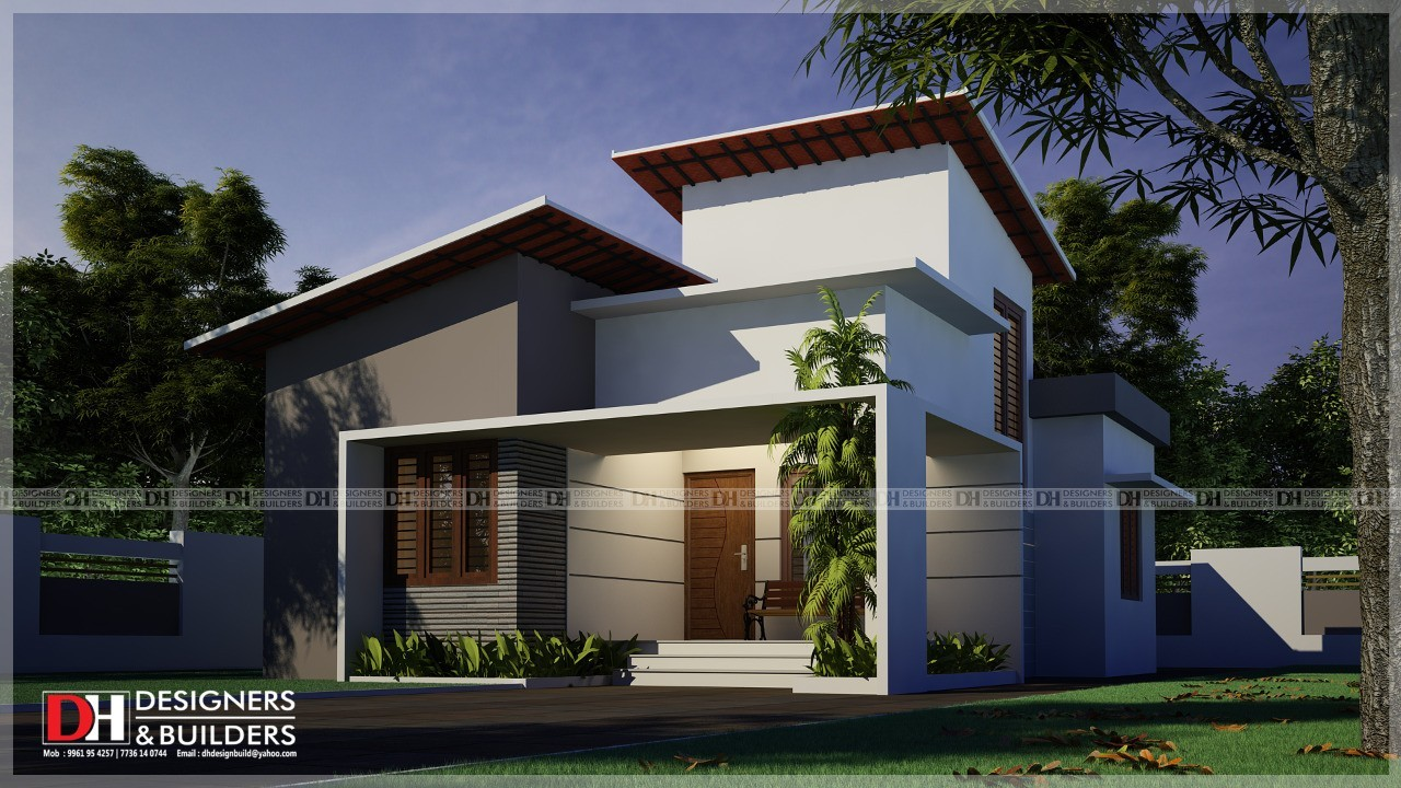 950 Sq Ft 2BHK Contemporary Style Single Floor House Design