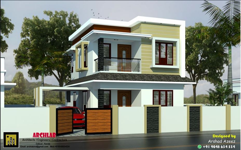 1094 Sq Ft 3BHK Contemporary Style Two Floor Modern House and Plan