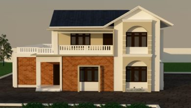 Photo of 1293 Sq Ft 3BHK Two Storey Colonial Style Beautiful House and Plan