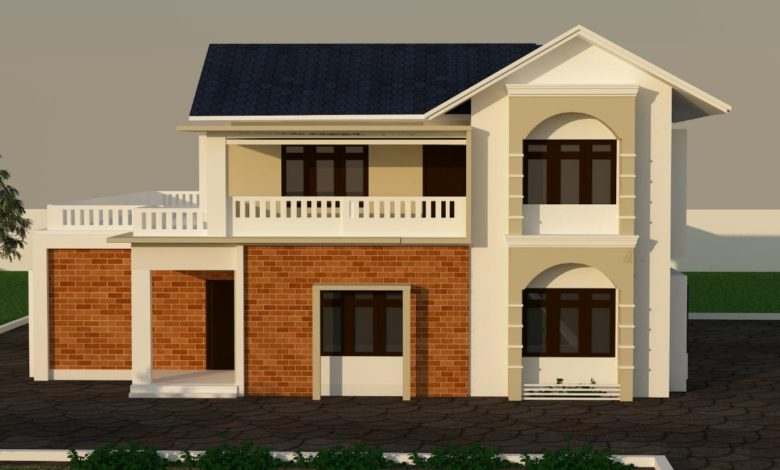 1293 Sq Ft 3BHK Two Storey Colonial Style Beautiful House and Plan