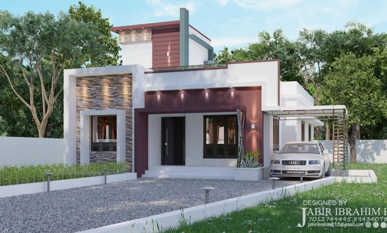 1300 Sq Ft 3BHK Contemporary Style Single Storey House and Plan, 19 Lacks