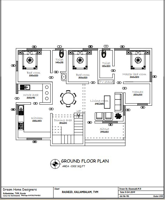 1302 Sq Ft 3BHK Single Floor Low Budget House and Plan, Cost 16 Lacks