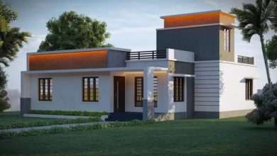Photo of 1362 Sq Ft 3BHK Contemporary Style Single Floor Beautiful House and Plan