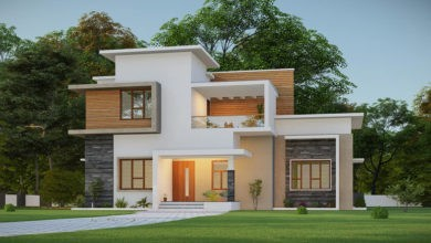 Photo of 1400 Sq Ft 3BHK Contemporary Style Two Storey House and Plan