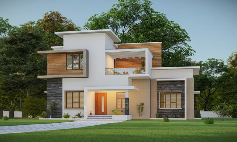 1400 Sq Ft 3BHK Contemporary Style Two Storey House and Plan